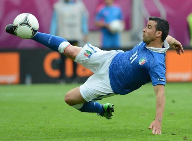 Italian forward Antonio Di Natale kicks the ball during the Euro 2012 championships football match Spain vs Italy on June 10, 2012 at the Gdansk Arena. AFP PHOTO / CHRISTOF STACHECHRISTOF STACHE/AFP/GettyImages