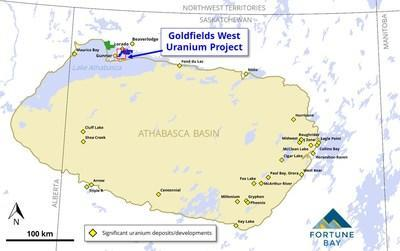 Figure 1: Goldfields West Uranium Project location map. (CNW Group/Fortune Bay Corp.)
