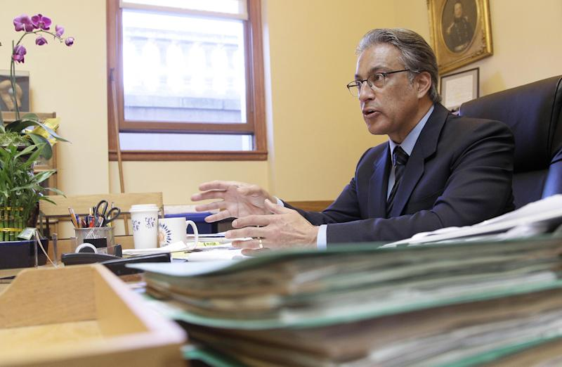 In this photo taken Oct. 26, 2012, Sheriff Ross Mirkarimi speaks during an interview in his office in San Francisco. After about two weeks back on the job, San Francisco's sheriff said he is humbled and ashamed of the domestic violence case that ended in his criminal conviction and nearly forced him out of office. But Sheriff Ross Mirkarimi said he would not accede to demands by the district attorney and the mayor that he recuse himself from domestic-violence-related programs in the county's jails. (AP Photo/Jeff Chiu)