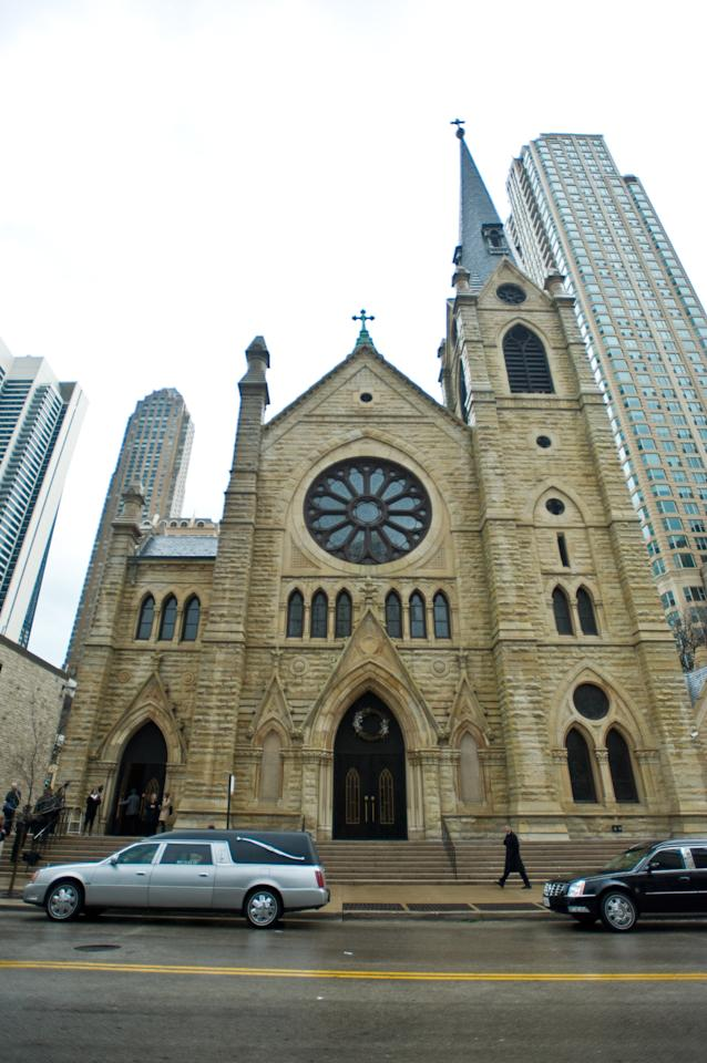CHICAGO, IL - APRIL 08:  Exterior shots of the funeral services for Roger Ebert at Holy Name Cathedral on April 8, 2013 in Chicago, Illinois.  (Photo by Timothy Hiatt/Getty Images)