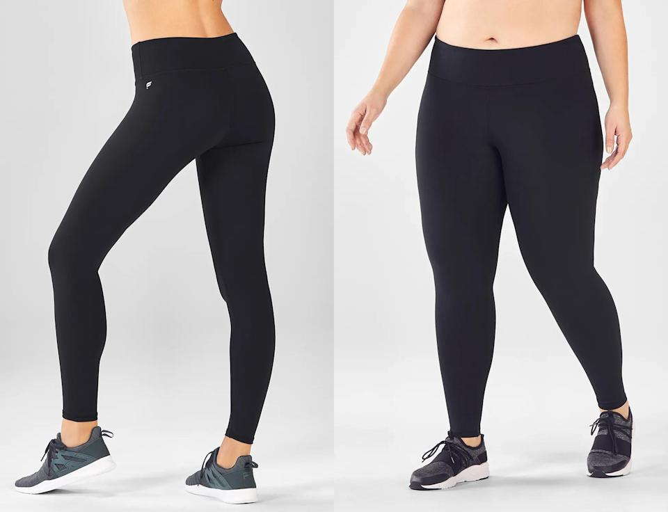 """<h3><strong>Fabletics Black Leggings</strong> </h3><br><strong>Why It's A Best Buy</strong>: This is an incredibly tough category to crown a winner in since there are so many <a href=""""https://www.refinery29.com/en-us/best-black-leggings-review"""" rel=""""nofollow noopener"""" target=""""_blank"""" data-ylk=""""slk:black leggings"""" class=""""link rapid-noclick-resp"""">black leggings</a> out there that come with cult-like status (<a href=""""https://shop.nordstrom.com/sr/zella-leggings"""" rel=""""nofollow noopener"""" target=""""_blank"""" data-ylk=""""slk:Zella"""" class=""""link rapid-noclick-resp"""">Zella</a>, <a href=""""https://shop.lululemon.com/p/women-pants/Wunder-Under-Hi-Rise-Tight-Brushed/_/prod8690549?color=0001"""" rel=""""nofollow noopener"""" target=""""_blank"""" data-ylk=""""slk:Lululemon's Wonder Under"""" class=""""link rapid-noclick-resp"""">Lululemon's Wonder Under</a>, <a href=""""https://www.refinery29.com/en-us/girlfriend-collective-leggings-lite-review"""" rel=""""nofollow noopener"""" target=""""_blank"""" data-ylk=""""slk:Girlfriend Collective"""" class=""""link rapid-noclick-resp"""">Girlfriend Collective</a> to name a few). <a href=""""https://www.fabletics.com/products/MID-RISE-POWERHOLD-LEGGING-PT1510471-0001"""" rel=""""nofollow noopener"""" target=""""_blank"""" data-ylk=""""slk:Fabletics"""" class=""""link rapid-noclick-resp"""">Fabletics</a> made this roundup because it checks every single box. Sizing? XXS - 4X: check. Affordable? Currently offering new members two for $24: check. Moisture-wicking? Check. Chafe-resistant? Check. See-through? Heck no. Pockets? You betcha.<br><br><strong>The Review</strong>: """"Fabletics ALLLLLLLLLLL the way. Two for $24 with your first purchase? Sign me up.. and then refer another email and sign me up again (plus $20 dollar store credit for referrals) and again and again. Plus they have a few signature different materials to choose from (Powerhold is my go-to) and new prints and designs coming out every month. Plus you can choose different lengths from long, regular, or short with their regular length bottoms, 7/8 length, or even capri. I ha"""