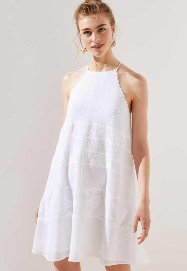 White halter mini boho dress. (Photo: Loft)