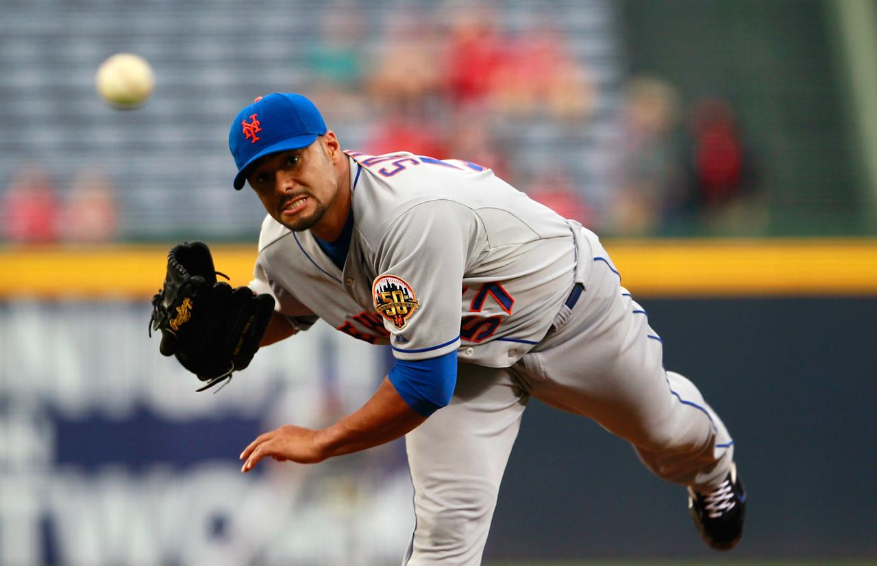 ATLANTA, GA - APRIL 17:  Johan Santana #57 of the New York Mets pitches to the Atlanta Braves at Turner Field on April 17, 2012 in Atlanta, Georgia.  (Photo by Kevin C. Cox/Getty Images)