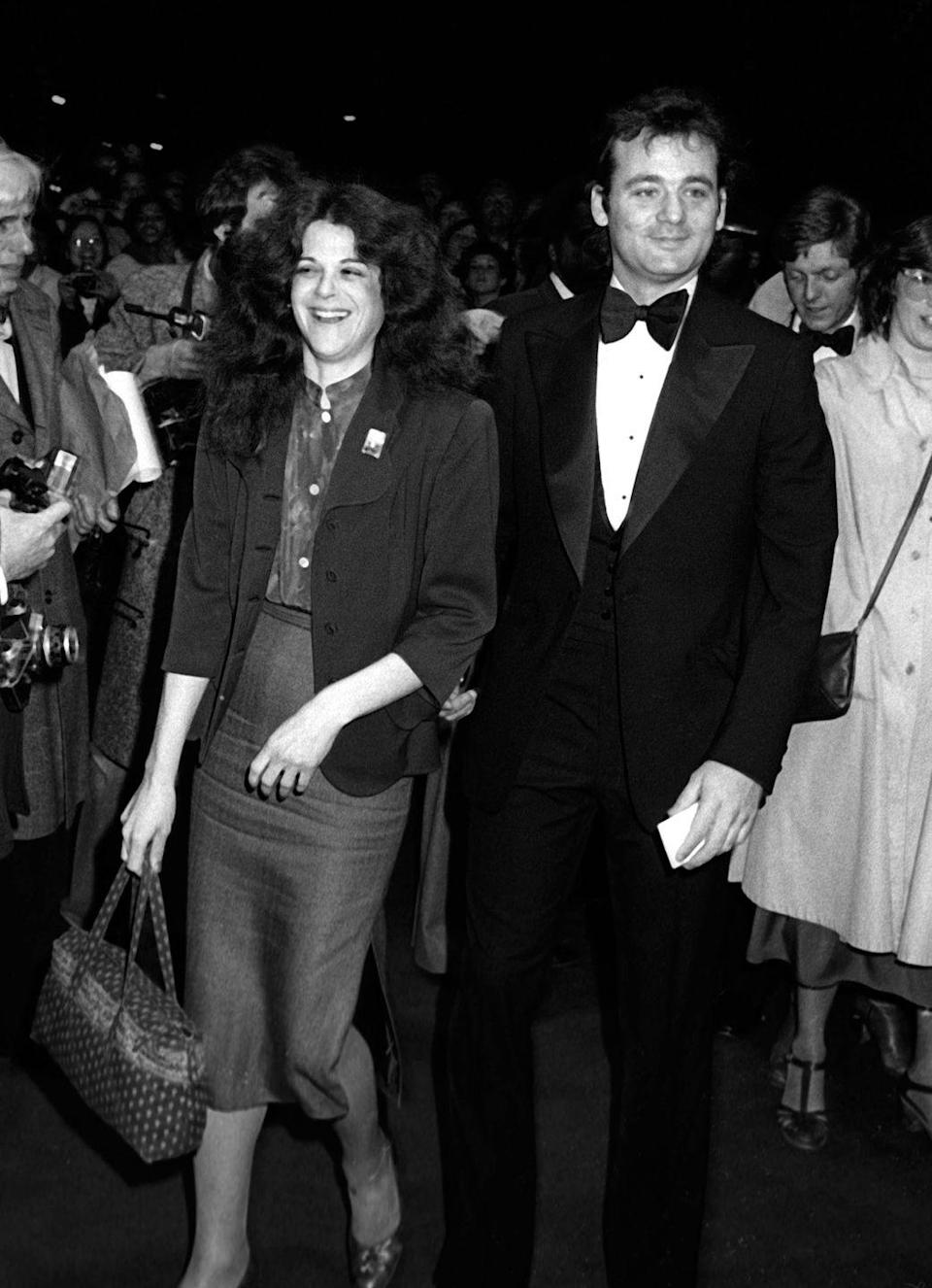 <p>Gilda Radner and Bill Murray attend the premiere of <em>Manhattan</em> on April 18, 1979 at the Ziegfeld Theater in New York City.</p>