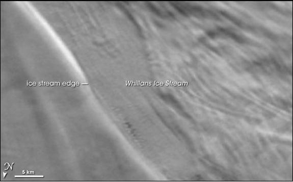 This satellite image from 2002 shows the Whillans Ice Stream, which flows onto Antarctica's Ross Ice Shelf.