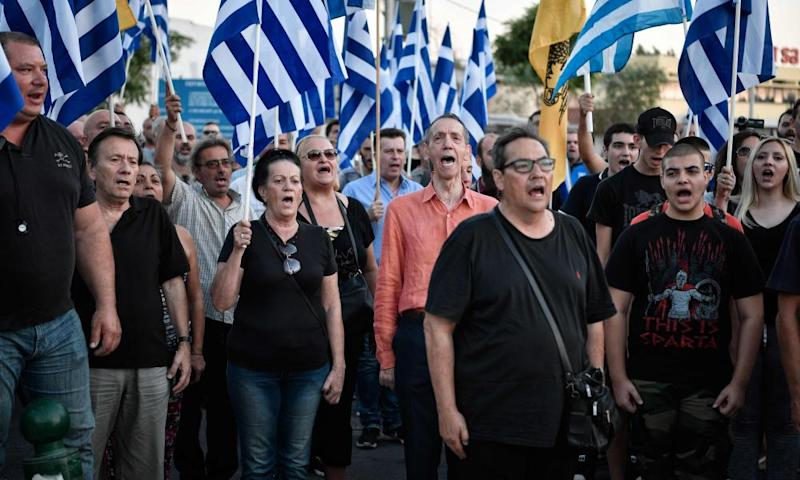 Golden Dawn supporters protest against the building of a mosque in Athens in 2018.