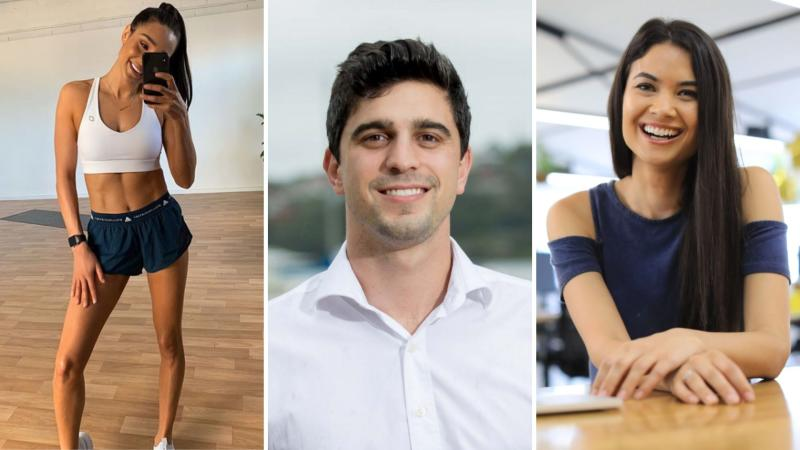 Sweat's Kayla Itsines, Afterpay's Nick Molnar and Canva's Melanie Perkins.