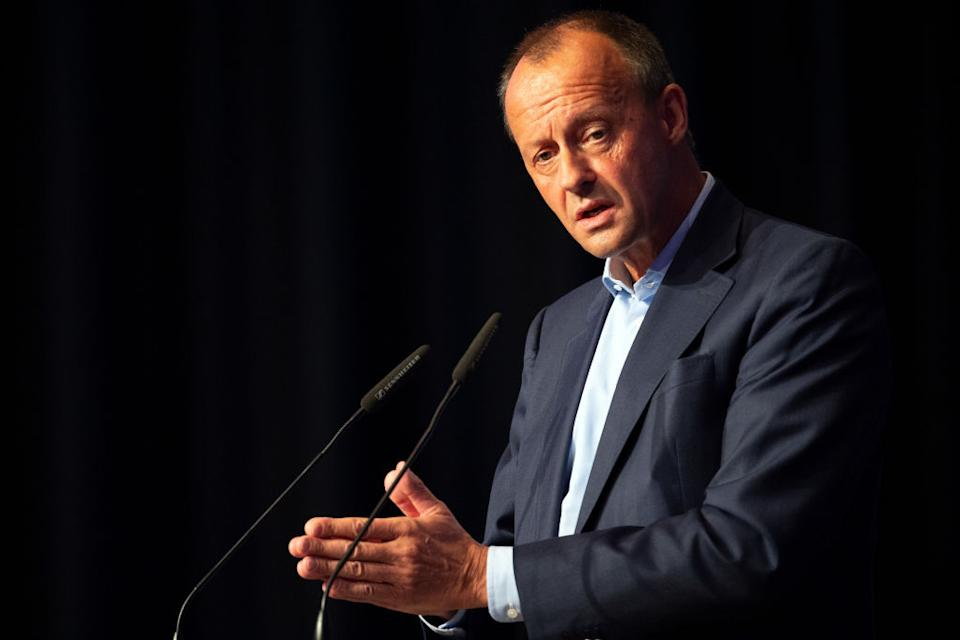 03 October 2020, North Rhine-Westphalia, Cologne: Friedrich Merz, candidate for the CDU presidency speaks at the NRW Day of the Junge Union. Photo: Federico Gambarini/dpa (Photo by Federico Gambarini/picture alliance via Getty Images)