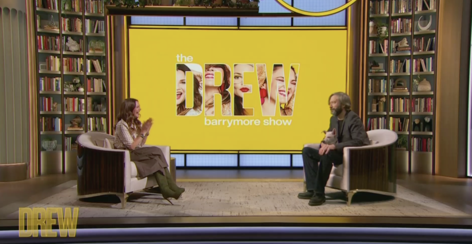Drew Barrymore invited her second husband, Tom Green, to be a guest on her talk show. They didn't speak for 15 years after the 2001 divorce, and it's been 15 years since they saw each other. (Photo: Drew Barrymore Show)