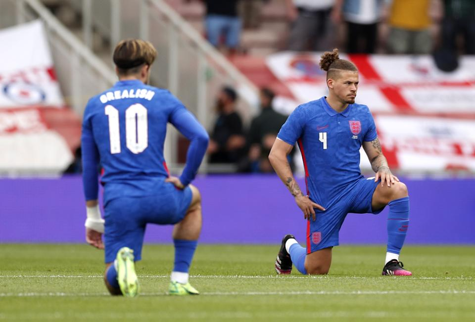 England's Jack Grealish and Kalvin Phillips take a knee before the international friendly match at Riverside Stadium, Middlesbrough. Picture date: Sunday June 6, 2021. (Photo by Lee Smith/PA Images via Getty Images)