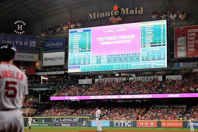 "The <a class=""link rapid-noclick-resp"" href=""/mlb/teams/houston/"" data-ylk=""slk:Astros"">Astros</a> are accused of running a high-tech sign-stealing scheme during their 2017 World Series-winning season. (Elsa/Getty Images)"