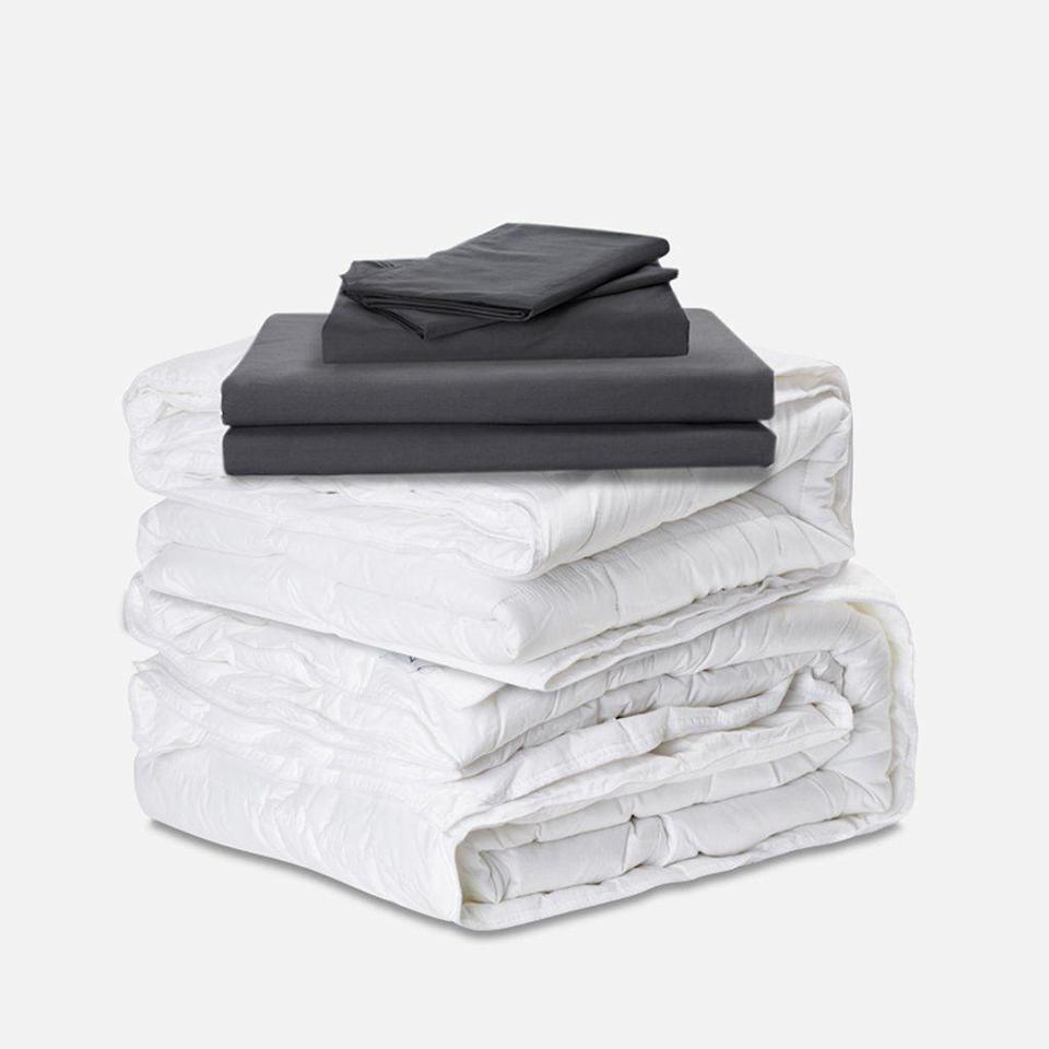 """<p><strong>Ervét</strong></p><p>ervetbedding.com</p><p><strong>$199.00</strong></p><p><a href=""""https://ervetbedding.com/products/the-ervet-system-bundle"""" rel=""""nofollow noopener"""" target=""""_blank"""" data-ylk=""""slk:Shop Now"""" class=""""link rapid-noclick-resp"""">Shop Now</a></p><p>If you share a bed and comforter with your partner, you may disagree on temperature. Avoid arguments with the genius Ervét split duvet bundle that features <strong>customizable inserts for each side of the bed</strong>. There are three options for comforter warmth: lightweight, mid-weight and all-season/heavy. Magnets attach the two comforters together. If you want the coolest side of the bed, pair the lightweight fill with a cotton percale cover. </p>"""