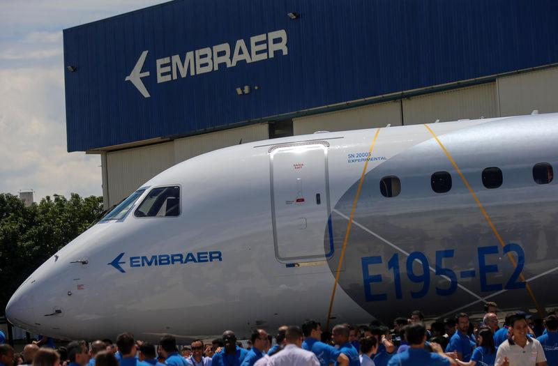 The the E195-E2 commercial jet's first prototype is pictured in Sao Jose dos Campos