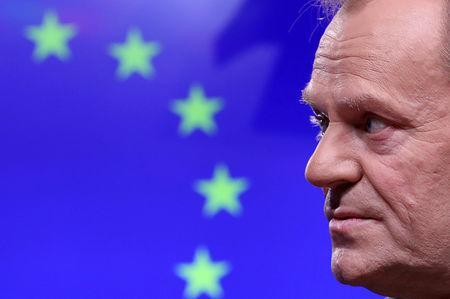 EU Council President Donald Tusk gives a statement after a meeting at the European Council headquarters in Brussels, Belgium February 6, 2019. REUTERS/Yves Herman