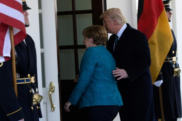 US President Donald Trump welcomes German Chancellor Angela Merkel to the White House