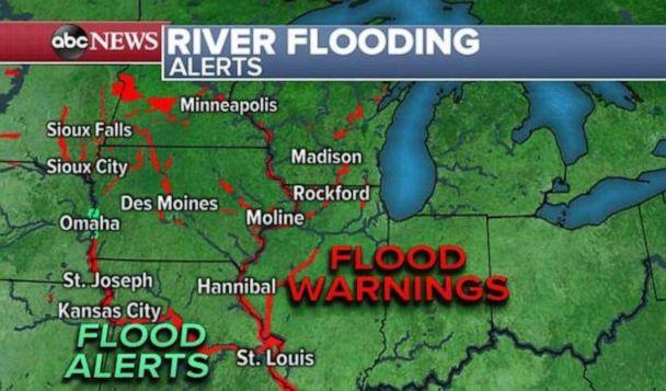 PHOTO: Flood warnings and alerts are still in place across much of the Plains and Upper Midwest on Sunday. (ABC News)