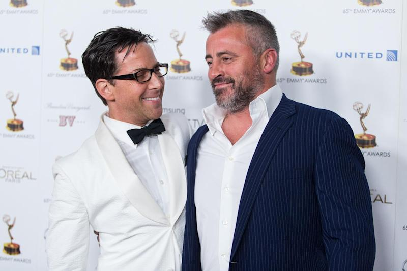 From left, actors Dan Bucatinsky and Matt LeBlanc arrive at the 65th Primetime Emmy Awards Performers Nominee Reception at the Pacific Design Center on Friday, Sept. 20, 2013 in Los Angeles. (Photo by Paul A. Hebert/Invision/AP)