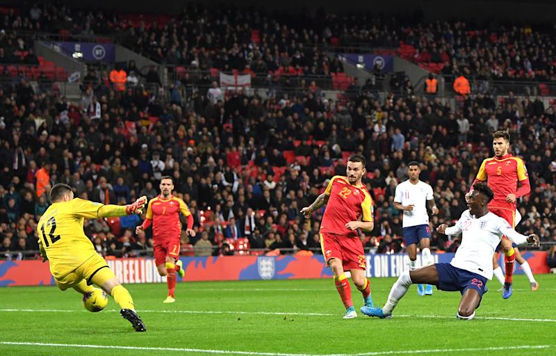 Tammy Abraham scores his first senior goal for England. (Photo by Michael Regan/Getty Images)