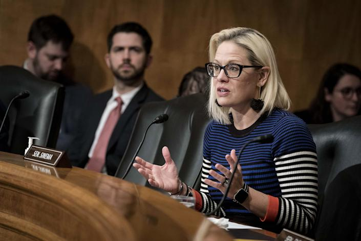 Senator Kyrsten Sinema, a Democrat from Arizona, speaks during a Senate Homeland Security Committee hearing on Capitol Hill in Washington, D.C., U.S., on Thursday, March 5, 2020. (Sarah Silbiger/Bloomberg via Getty Images)