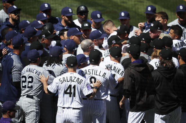 Benches cleared on Wednesday during the Colorado-San Diego game. (AP)