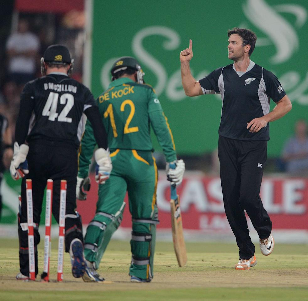 POTCHEFSTROOM, SOUTH AFRICA - JANUARY 25:  James Franklin of New Zealand celebrates the wicket of Quinton de Kock of South Africa during the 3rd One Day International match between South Africa and New Zealand at Senwes Park on January 25, 2013 in Potchefstroom, South Africa.  (Photo by Lee Warren/Gallo Images/Getty Images)