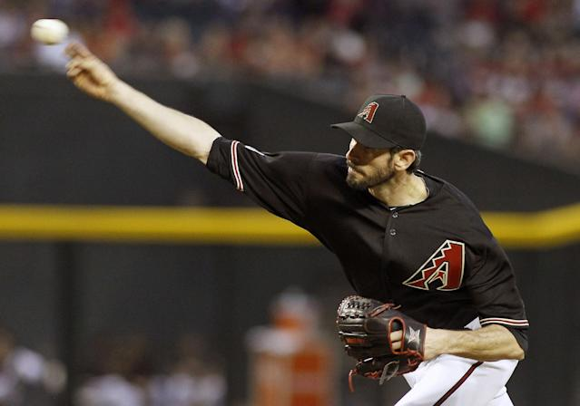 Arizona Diamondbacks pitcher Brandon McCarthy delivers a pitch against the Washington Nationals during the fifth inning of a baseball game, Saturday, Sept. 28, 2013, in Phoenix. (AP Photo/Ralph Freso)