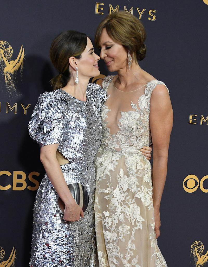 Actors Sarah Paulson (L) and Allison Janney attend the 69th Annual Primetime Emmy Awards at Microsoft Theater on Sept. 17, 2017 in Los Angeles, California.