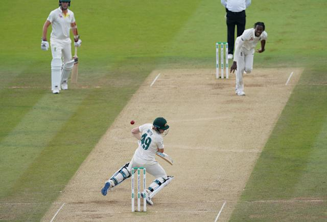 Smith has hit by a rapid Jofra Archer delivery (Photo by Jed Leicester/Getty Images)