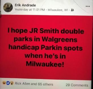 Milwaukee police officer Erik Andrade's Facebook post during Game 1 of the 2018 NBA Finals. (Image via Scribd)