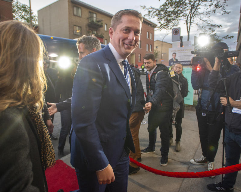 Conservative Leader Andrew Scheer arrives for the TVA French-language debate in Montreal, Wednesday, Oct. 2, 2019. (Ryan Remiorz/The Canadian Press via AP)