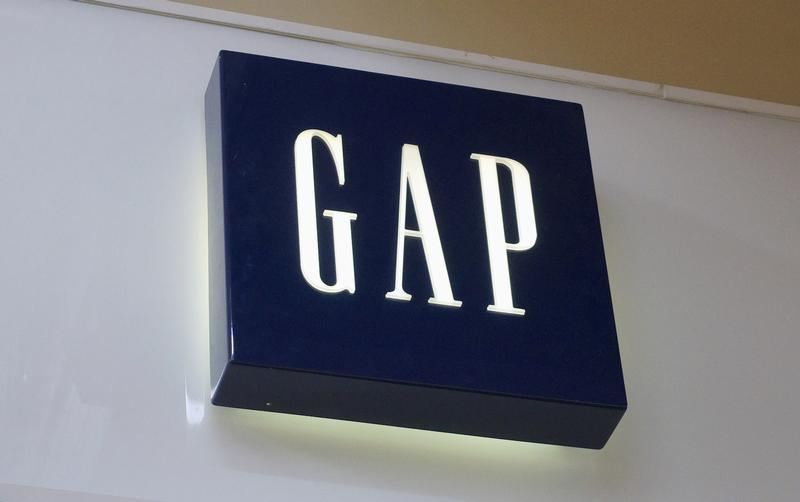 The sign outside a Gap store is seen in Broomfield, Colorado