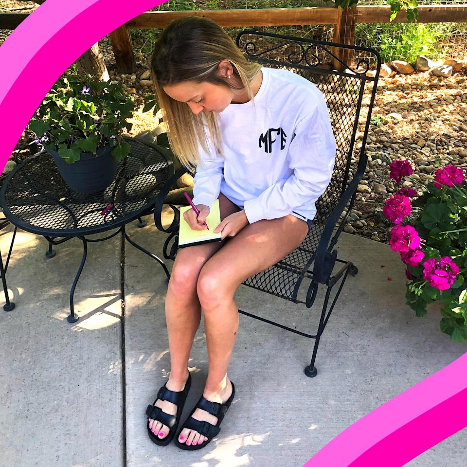 Thanks to the comfortable padded footbed, I can easily wear them around my house throughout the day.  (Megan Foster / TODAY)