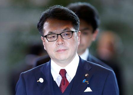 Japan's Minister of Economy,Trade and Industry Hiroshige Seko arrives at Prime Minister Shinzo Abe's official residence in Tokyo