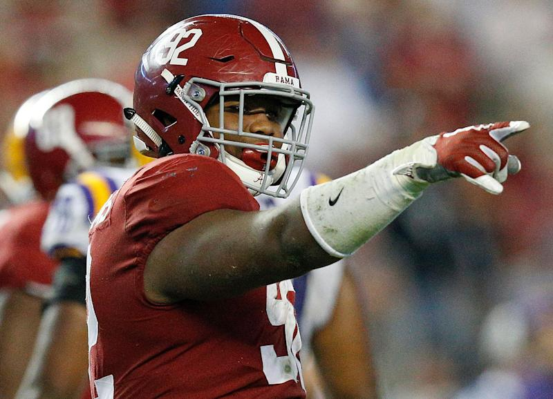 FILE - In this Nov. 4, 2017 file photo, Alabama defensive lineman Quinnen Williams celebrates after sacking LSU quarterback Myles Brennan during the second half of an NCAA college football game, in Tuscaloosa, Ala. Williams has been hot all season, really, but he was a monster in Alabama's biggest game of the season so far against LSU. He had 10 tackles, seven solo stops, and 2½ sacks against the Tigers. (AP Photo/Brynn Anderson, File)