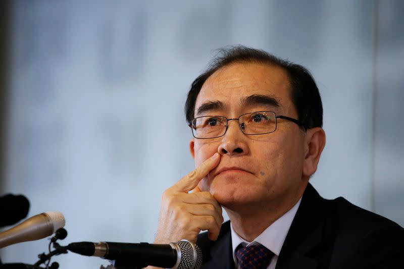 Thae Yong Ho, North Korea's former deputy ambassador to Britain, speaks during a news conference, ahead of the country's general election in April, in Seoul
