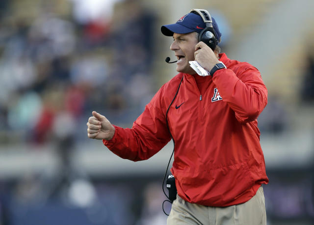 Rich Rodriguez was fired after six seasons as head coach at Arizona. (AP Photo/Marcio Jose Sanchez, File)