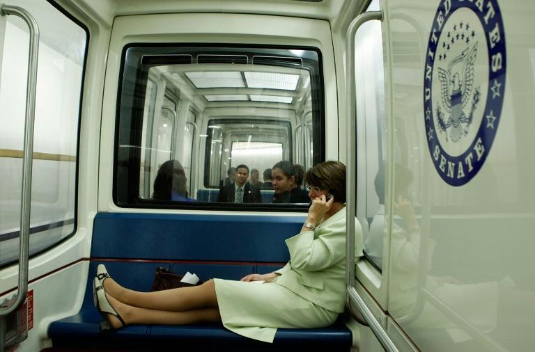 The journey is just enough time for lawmakers such as Democratic Senator Amy Klobuchar, pictured in 2008, to engage in serious political conversation, idle gossip, an impromptu press conference or a pleasant daydream (AFP/MARK WILSON)