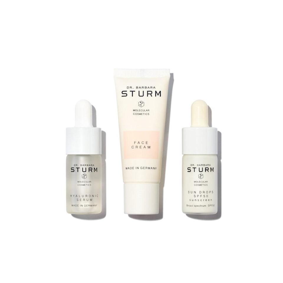 """Winter dryness won't stand a chance against Dr. Barbara Sturm's supercharged skin-care products. $145, Dr. Barbara Sturm. <a href=""""https://violetgrey.com/product/everyday-skin-trio/DBS-SET-50-28?nrtv_cid=29a58e4c54b86e48ca4109ba9bbe9a504eb5de7df6b7560c92002a8248f30a74&utm_source=narrativ&utm_medium=display&utm_campaign=narrativ_premium_editorial&utm_content=glamour&utm_term=glamour&"""" rel=""""nofollow noopener"""" target=""""_blank"""" data-ylk=""""slk:Get it now!"""" class=""""link rapid-noclick-resp"""">Get it now!</a>"""
