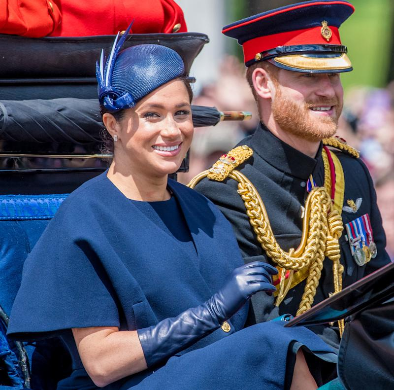 Prince Harry, Meghan Duchess of Sussex during Trooping the Colour ceremony, marking the monarch's official birthday, in London. (Photo by DPPA/Sipa USA)