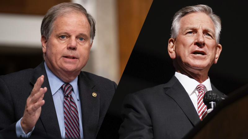 Senator Doug Jones/Tommy Tuberville, Republican U.S. Senate nominee and former Auburn University football coach (Alex Edelman/AFP via Getty Images; Elijah Nouvelage/Bloomberg via Getty Images)