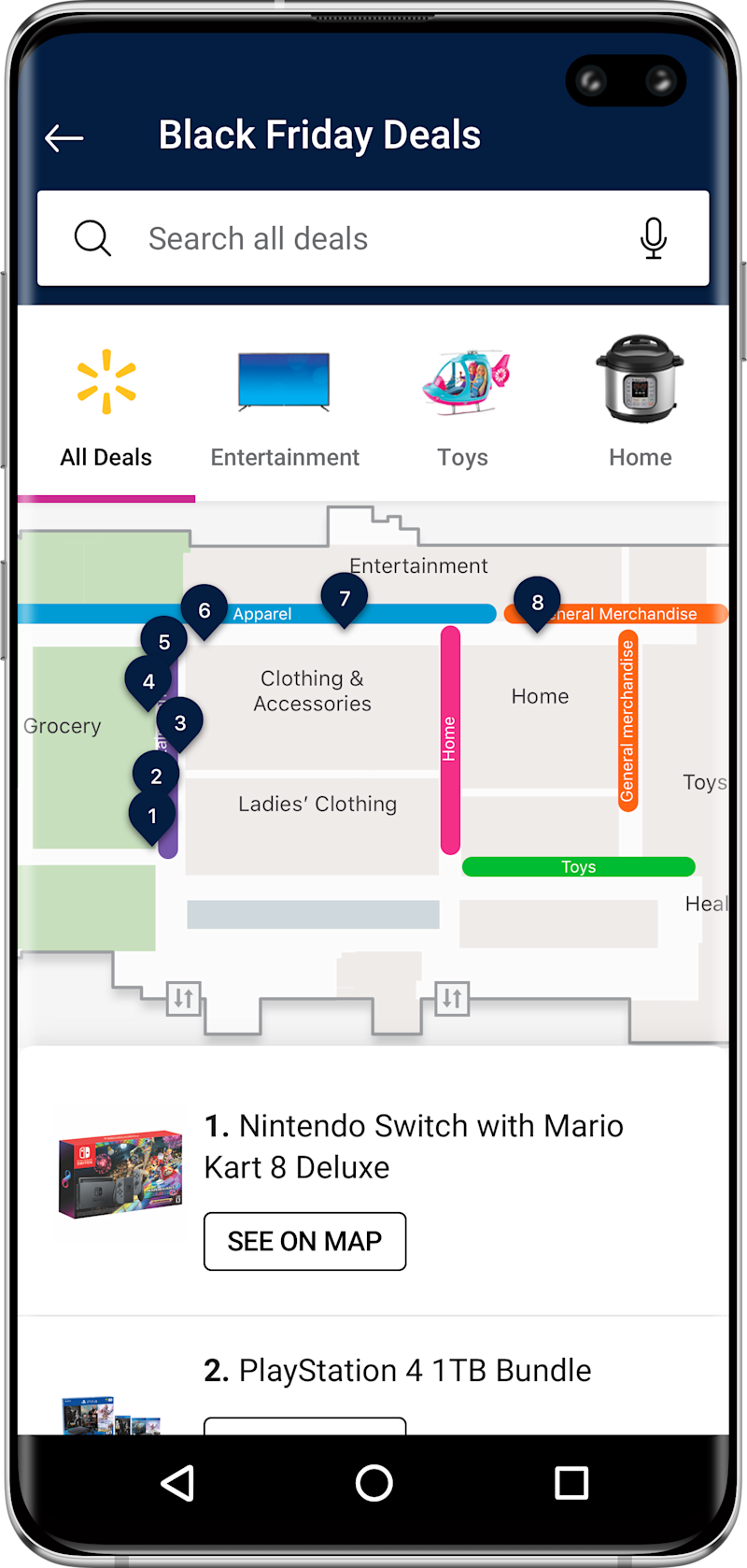 Walmart's app features a color-coded map to help shoppers find sought after Black Friday deals.