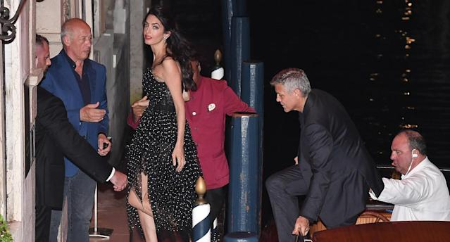 Amal Clooney and George Clooney at the 74th Venice Film Festival on Aug. 31. (Photo by Photopix/GC Images)