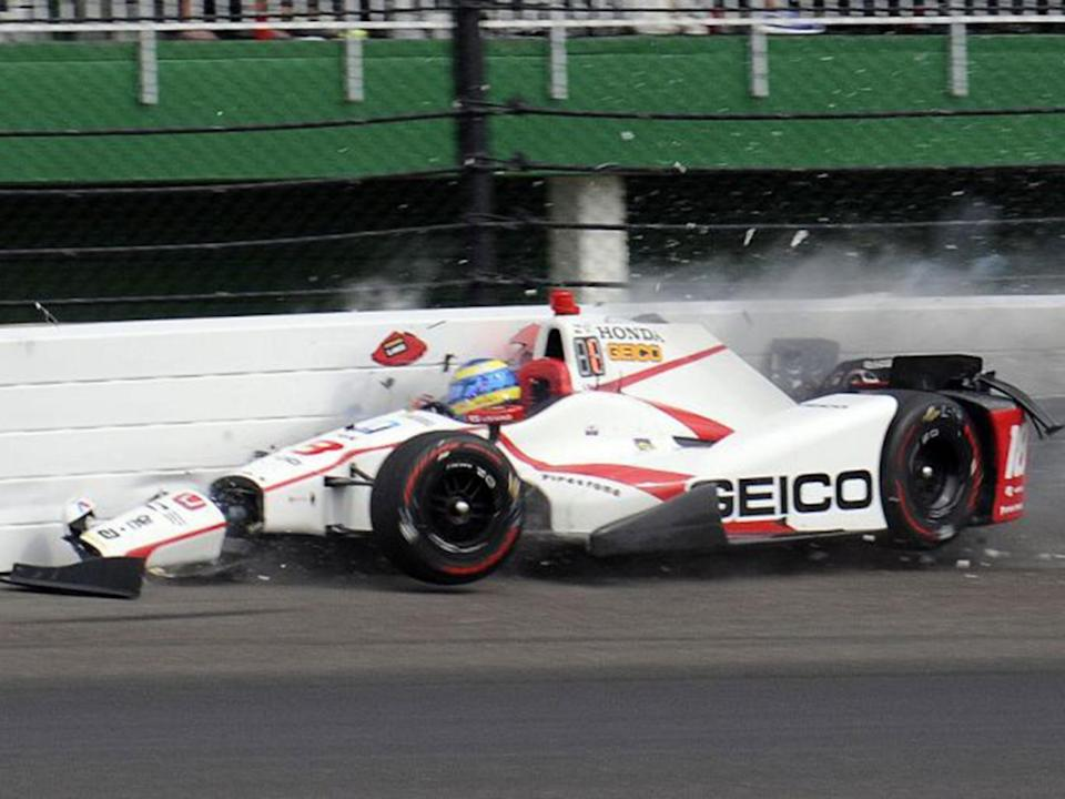 Bourdais hit the wall after travelling at more than 230mph (AP)