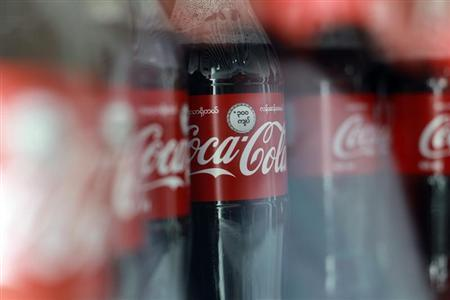 A view of Coca-Cola bottles at the opening ceremony of a Coca-Cola factory outside of Yangon