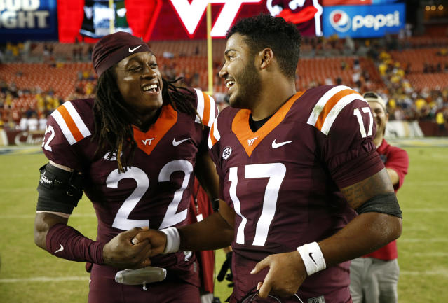 Virginia Tech safety Terrell Edmunds (L) projects as a second- or third-round draft pick. (AP)