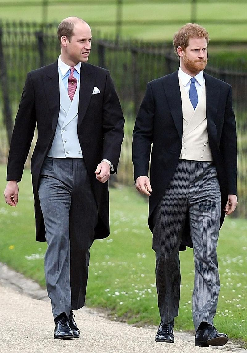 Prince Harry with his older brother suited up for the occasion. Source: Getty