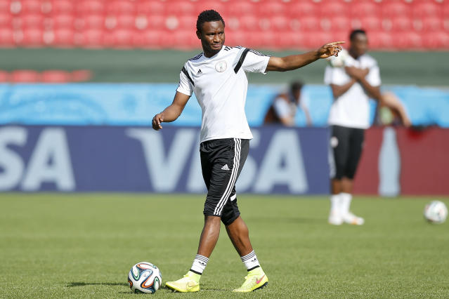 Nigeria's John Obi Mikel gestures during a training session at Beira-Rio Stadium in Porto Alegre, Brazil, Tuesday, June 24, 2014. Nigeria plays in group F of the 2014 soccer World Cup. (AP Photo/Victor R. Caivano)
