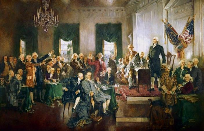 Howard Chandler Christy's painting of the signing of the United States Constitution was commissioned in 1939 as part of the congressional observance of the Constitution's sesquicentennial. (Photo: Howard Chandler Christy, Architect of the Capitol/aoc.gov)