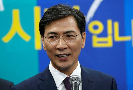 FILE PHOTO: The Democratic PartyÕs candidate for the presidential primary An Hee-jung makes a speech at an event to declare their fair contest in the partyÕs presidential primary in Seoul, South Korea, March 14, 2017.  REUTERS/Kim Kyung-Hoon/File Photo