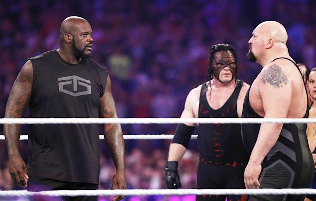 Shaq vs. Big Show at WrestleMania 33? It looks unlikely at the moment. (AP)